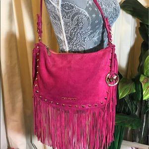 Michael Kors Billy Fringe Pink Shoulder Bag